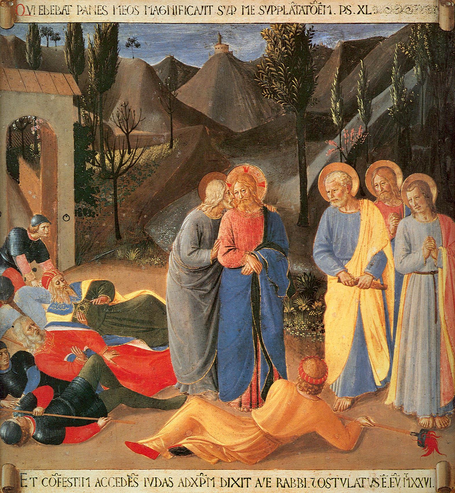 Поцелуй Иуды. Фра Беато Анжелико. Армадио дельи Ардженти. Монастырь Сан Марко, Флоренция. Фреска. 1450 г.